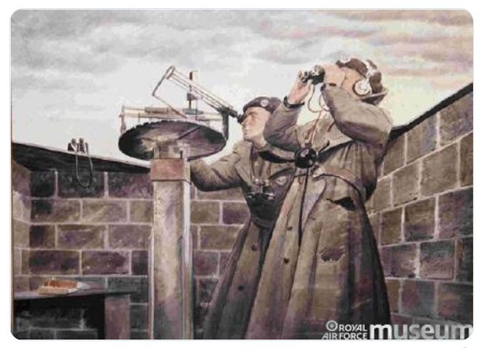 A poster showing two members of the Royal Observer Corps on look-out