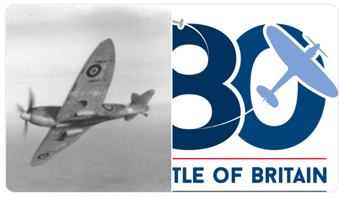 Images showing a Spitfire in flight and the Battle of Britain 80th anniversary logo