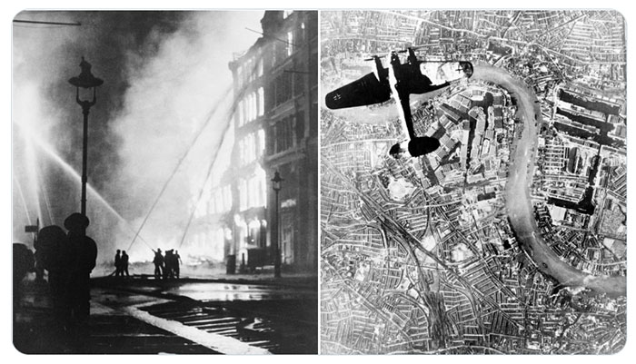 Image of London Docklands ablaze and Luftwaffe aircraft flying over the Thames from above
