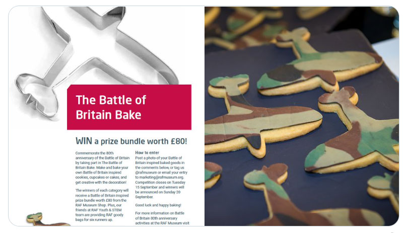 Battle of Britain Bake Poster plus some examples of Spitfire Cookies