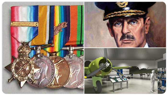 Images showing Dowding's medals, a portrait of Dowding and an artist's impression of London's new Battle of Britain display