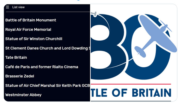 A list of locations in London associated with the Battle of Britain