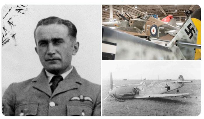 An image of Sergeant Josef Frantisek, London's Battle of Britain Fighter 4 and a crashed Messerschmitt 109.