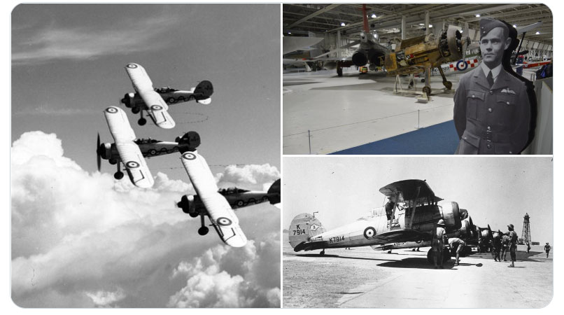 Historic images of the Gloster Gladiator in flight, on the ground, plus an image of London's Gloster Gladiator which is currently in Hangar 4