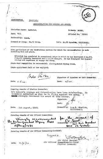 Proposal for awarding of DFC for Ladislav BOBEK. Archive of Martin Vrána