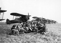 Gloster Gladiator pilots of 615 Squadron pictured at Vitry-en-Artois