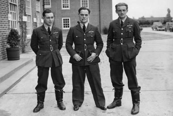 Figure 6: McKnight, Bader and Eric Ball, another holder of the DFC and a Battle of Britain ace. (c) Crown Copyright, Air Historical Branch.