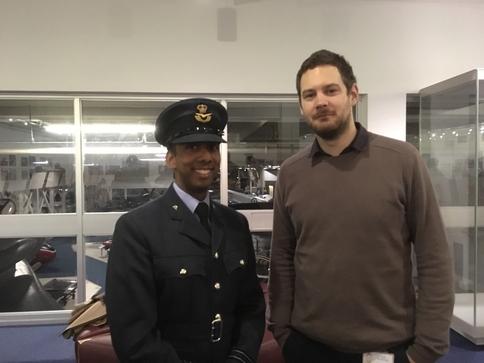 Joe Sullivan, Heritage Outreach Officer, with OC Flight Lieutenant Anthony Fernandes
