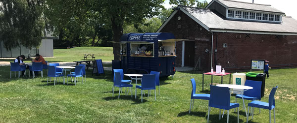 Our Coffee Trailer, located in our green area