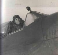 Flt Lt Harder in his Spitfire cockpit