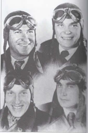 "The ""Polish Four-Leaf Clover"" – Czechoslovak pilots in a Polish squadron. First row from left: Vilém KOŠAR (KIA, 8th November 1940), Matej PAVLOVIC (KIA 20th April 1941), second row from left: Josef BALEJKA, Josef FRANTIŠEK (KIA, 8th October 1940). Archive of Martin Vrána."