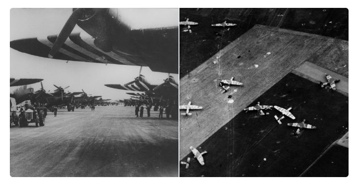 Montage showing the various RAF aircraft that participated in the D-Day landings