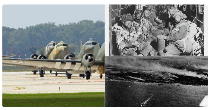 Montage of images showing troops being transported by aircraft to the Normandy Beaches and the beaches themselves from the air
