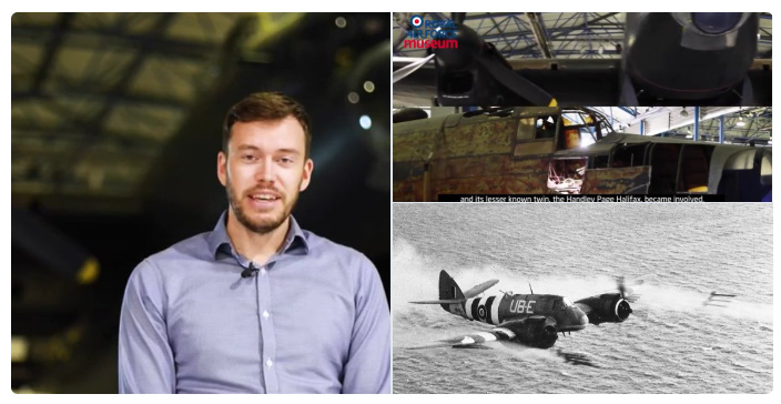 Montage of images showing Kris Hendrix and excerpts from his film about D-Day