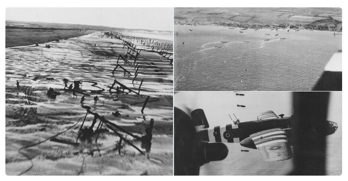Montage of images showing Normandy Beaches and RAF aircraft in flight