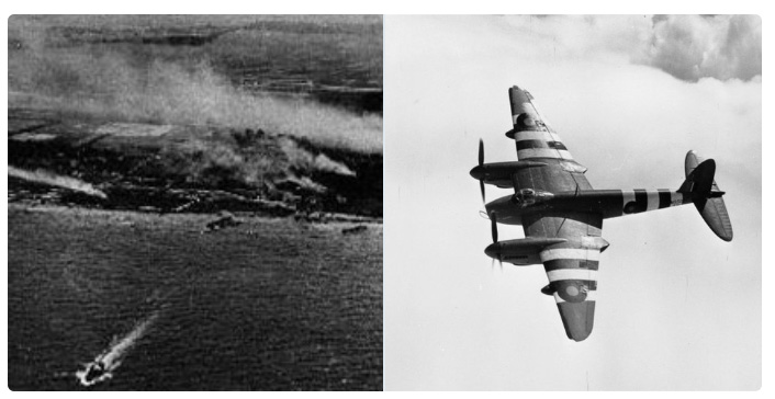 Two images of the Normandy Beaches from the air and RAF aircraft in flight over them.