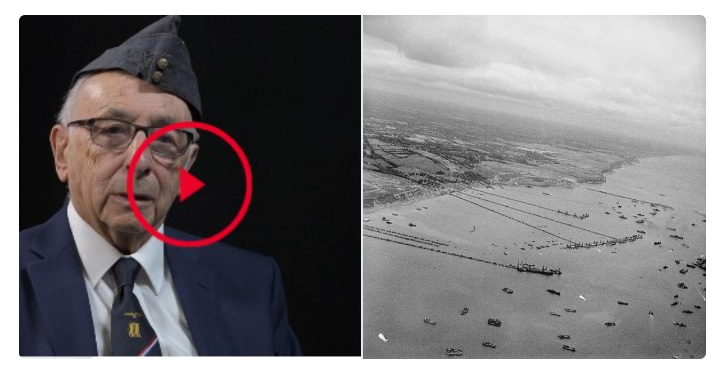 Montage of Ralph Levy and the beaches of Normandy