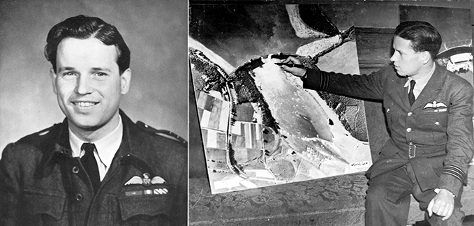 Wing Commander Guy Gibson wearing battledress with medal ribbons for VC, DSO and DFC and him showing  a photograph of the breached Moehne dam. Image by Barry Swaebe