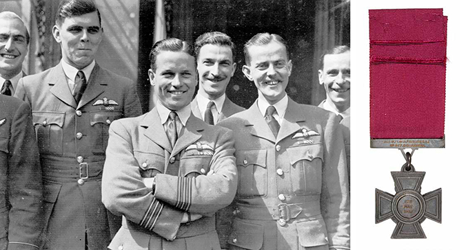 Wing Commander Guy Gibson with other officers, such as Flying Officer Edward Johnson and Flight Lieutenant 'Micky' Martin and the Victoria Cross of Wing Commander Guy Gibson. Engraved is the date 22nd May 1943