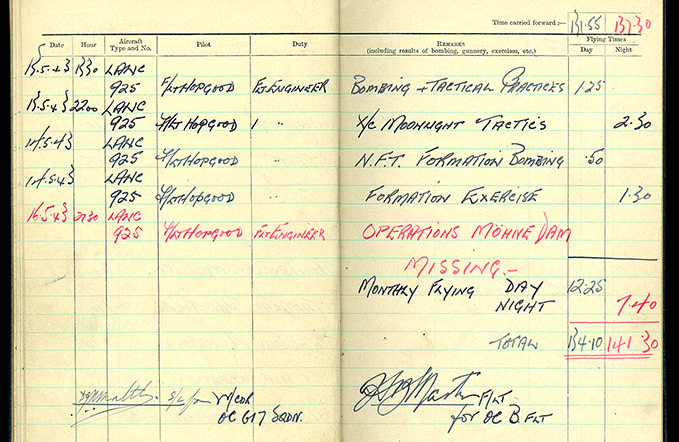 Flight Engineer Brennan's log book  with Dams Raid entry. This entry was obviously not written by himself as he was reported missing, later confirmed dead.