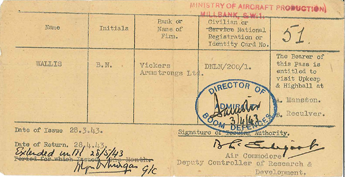 Permission for Barnes Wallis to witness the Upkeep trials in March and April 1943