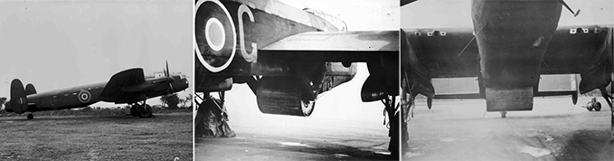 The photo of the Avro Lancaster Mk III (Special) (ED825-G) bomb bay doors and upper gun turret removed for bouncing bomb installation and the photos of the bouncing bomb installation ('Upkeep') showing the spinning mechanism
