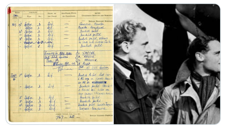 Montage showing Douglas Bader's log-book and the great man himself