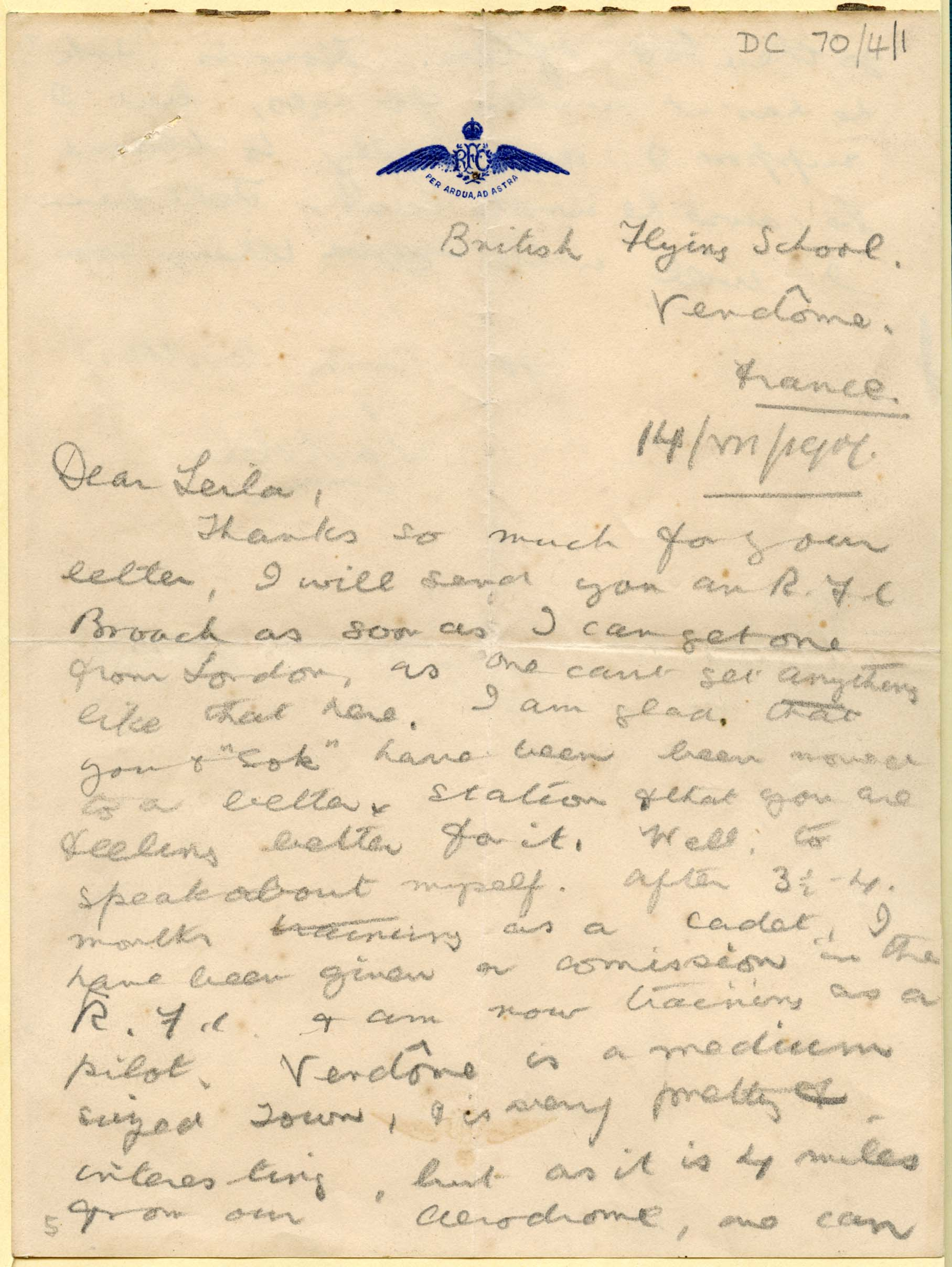 5. DC70/4 – Letter from Lt Indralal Roy at the British Flying School, Vendome to his sister, July 1917. RAF Museum