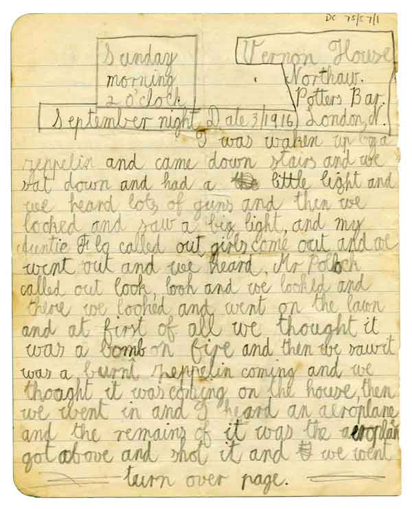 DC75/57  Eyewitness account of the destruction of SL11 by eight year old R.W. Donkin