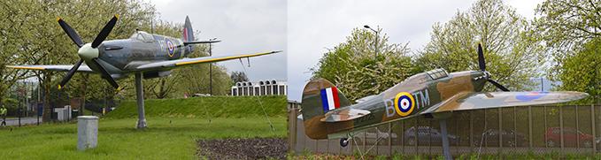 Supermarine Spitfire MK XVI and Hawker Hurricane MK 1, the Gate Guardians of the RAF Museum London
