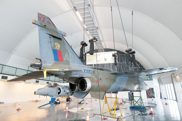 Jaguar XX824 being prepared for installation in the 'RAF in the Age of Uncertainty' gallery, RAF Museum London, 2018