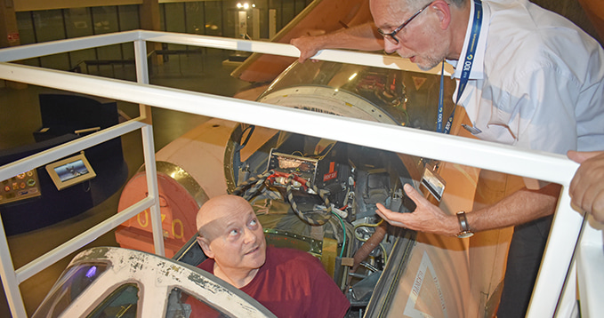 The Thank You event for volunteers at the RAF Museum London - Tim Bracey giving a tour to another volunteer of the Blackburn Buccaneer cockpit