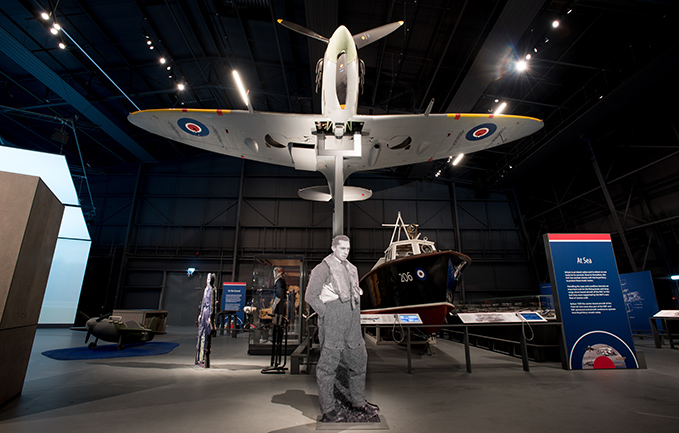The silhouette of 'The People's Spitfire Pilot' Squadron Leader Franciszek Kornicki in the new exhibition 'RAF Stories: The First 100 Years: 1918-0218'