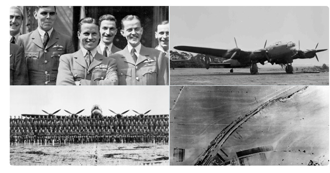 A collage of images showing the Dambusters crew, 617 Squadron,  and Gibson's Lancaster