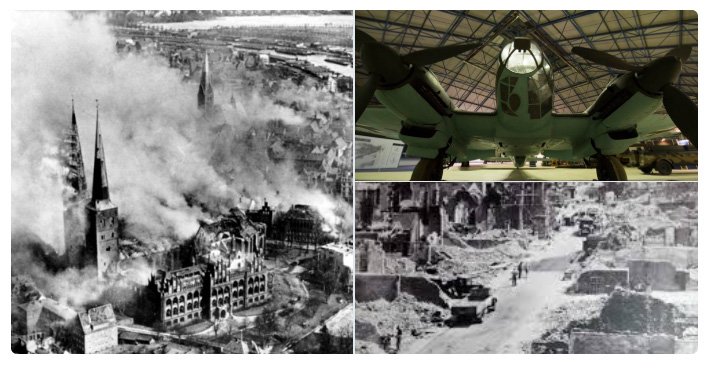 Bomber Collage with historic pictures showing Canterbury in ruins