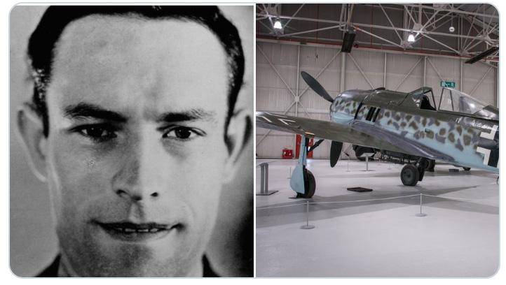 Montage showing image of Heinrich Ehrler and a Focke Wulf 190