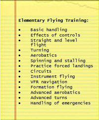 Skills taught in the elementary stage of flying training