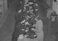New recruits soon learnt how to arrange their kit for inspection