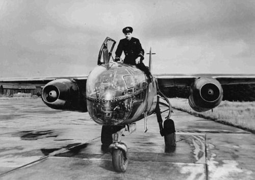 Eric Brown on top of an Arado Ar 234