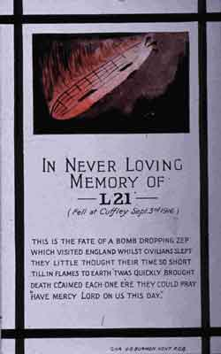 FA04474: In Never Loving Memory of L21: this image, typical of many hurriedly produced after Robinson's victory, again assigns the airship's identity to L21.