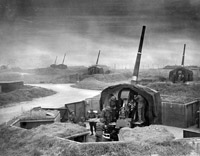 An anti-aircraft gun battery. The 4.5-inch was one of two medium anti-aircraft guns used by the Royal Artillery during the Battle.