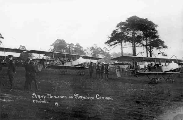 Farman F.20s at Farnborough, RFC, probably 1914.