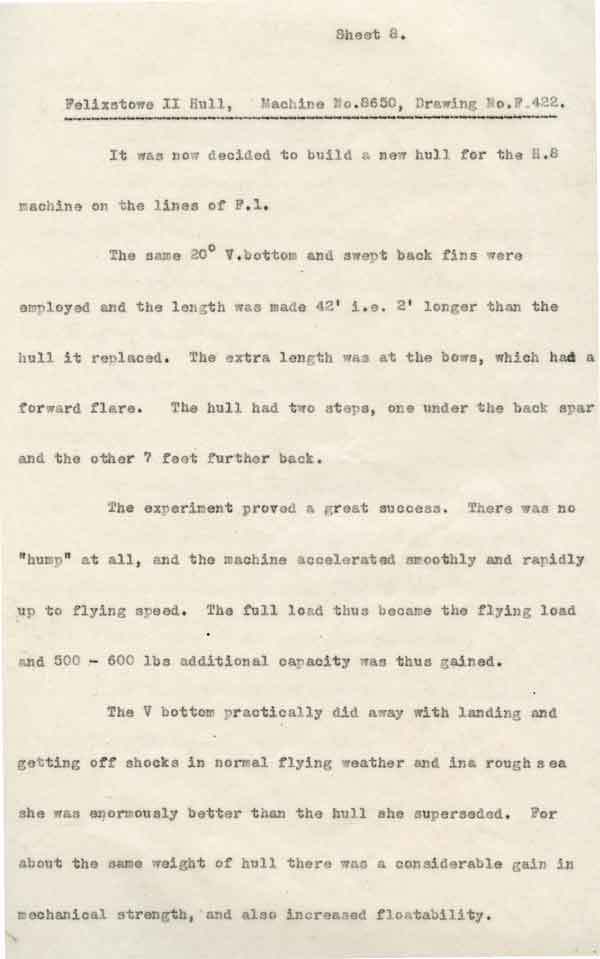Description of the new hull design used for the Felixstoew F.2A from 'Report on experimental flying boat hulls, 1915-1916' produced by RNAS Felixstowe (RAFM reference B433)