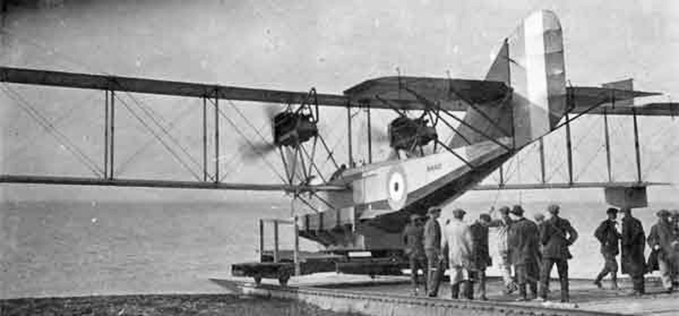 Newly built flying boat Felixstowe F.3 N4401 is about to take to the water in 1918