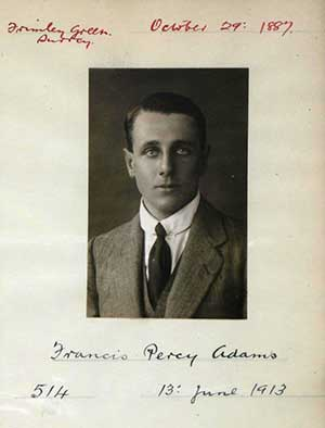 Royal Aero Club certificate of Francis Percy Adams, 1913.