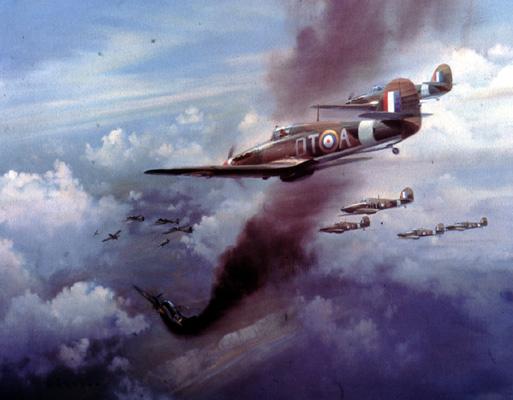 FA01348 Frank Wotton, Hurricanes Attacking German Bombers, print