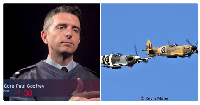 Montage of images, showing Paul Godfrey and the Battle of Britain Memorial Flight's Spitfire and Hurricane