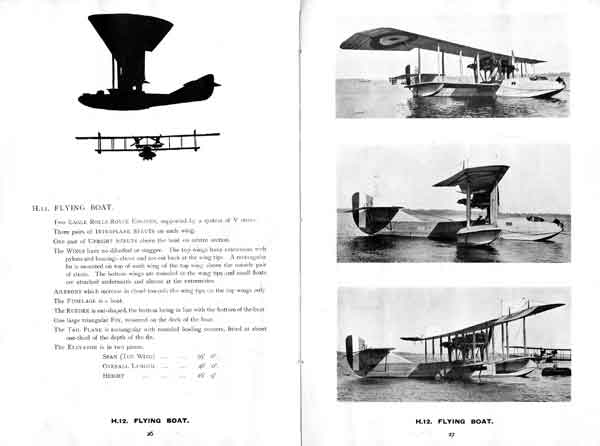 Details of the H.12 Large America from 'Types of British seaplanes, flying boats and ship's aeroplanes' (August 1918)