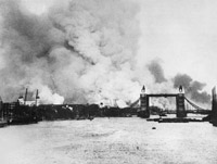 London on fire following bombing raid