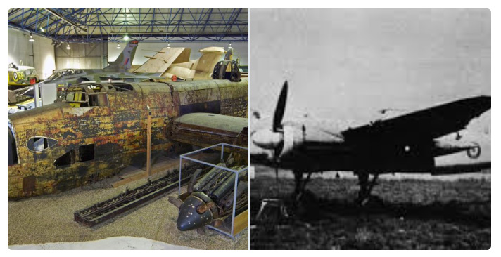 Montage showing our London's Halifax bomber in its recovered position and a historic photograph of it when in service.